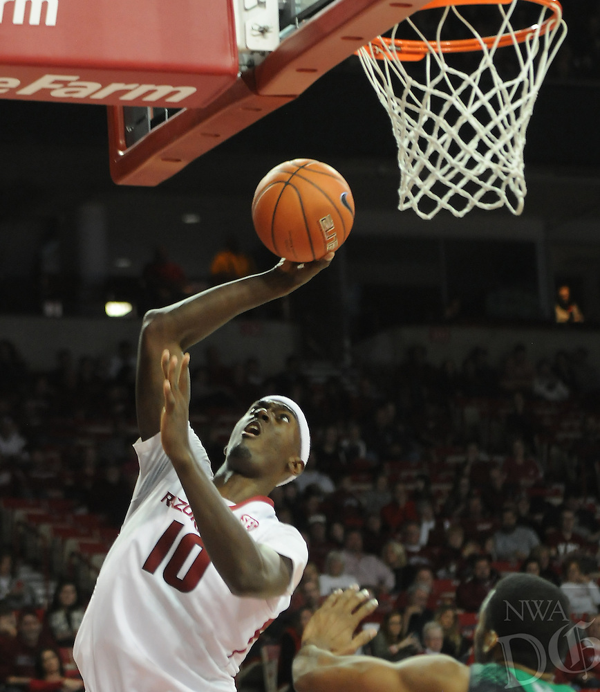 NWA Media/ J.T. Wampler -Arkansas' Bobby Portis shoots a layup against Utah Valley Saturday Jan. 3, 2015 at Bud Walton Arena in Fayetteville. The Hogs won 79-46.