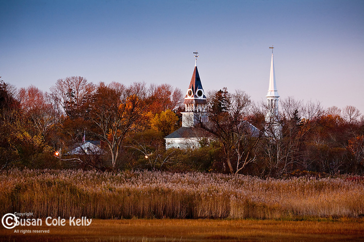 Steeples over the Mill Creek Marsh, Sandwich, Cape Cod, MA, USA