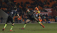 Blackpool's Will Aimson and Bristol Rovers' Tom Nichols<br /> <br /> Photographer Stephen White/CameraSport<br /> <br /> The EFL Sky Bet League One - Blackpool v Bristol Rovers - Saturday 13th January 2018 - Bloomfield Road - Blackpool<br /> <br /> World Copyright &copy; 2018 CameraSport. All rights reserved. 43 Linden Ave. Countesthorpe. Leicester. England. LE8 5PG - Tel: +44 (0) 116 277 4147 - admin@camerasport.com - www.camerasport.com