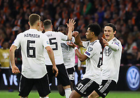 celebrate the goal, Torjubel zum 0:2 von Serge Gnabry (Deutschland Germany) mit Nico Schulz (Deutschland Germany), Joshua Kimmich (Deutschland Germany)  - 24.03.2019: Niederlande vs. Deutschland, EM-Qualifikation, Amsterdam Arena, DISCLAIMER: DFB regulations prohibit any use of photographs as image sequences and/or quasi-video.