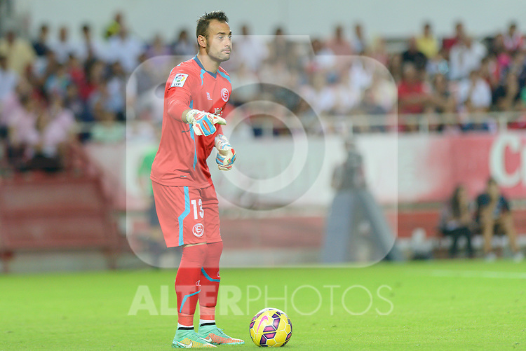 Sevillas goalkeeper Beto during the match between Sevilla FC and Villarreal day 9 spanish  BBVA League 2014-2015 day 5, played at Sanchez Pizjuan stadium in Seville, Spain. (PHOTO: CARLOS BOUZA / BOUZA PRESS / ALTER PHOTOS)