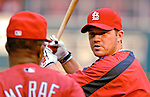 4 August 2007: St. Louis Cardinals third baseman  Scott Rolen discusses hitting with coach Hal McRae prior to a game against the Washington Nationals at RFK Stadium in Washington, DC. The Nationals defeated the Cardinals 12-1 in the second game of their 3-game series...Mandatory Photo Credit: Ed Wolfstein Photo