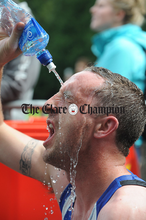 Killaloe's Eugene Cusack Cools down after completing the Brian Boru Sprint Triathlon at Two-Mile-Gate,  Killaloe. Photograph by John Kelly.