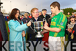 Finuge's captain Eamon Fitzmaurice lifts the Bernard O'Callaghan Memorial Cup after beating Beal in the final last Sunday in Ballylongford.