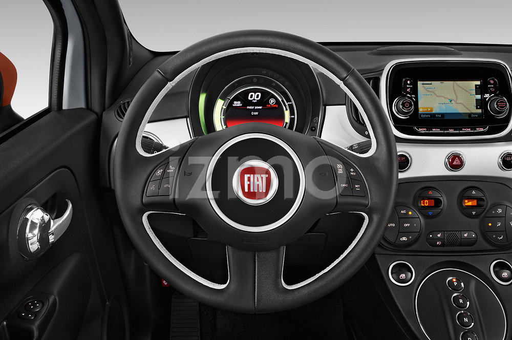 Car pictures of steering wheel view of a 2019 Fiat 500e Battery-Electric 3 Door Hatchback Steering Wheel