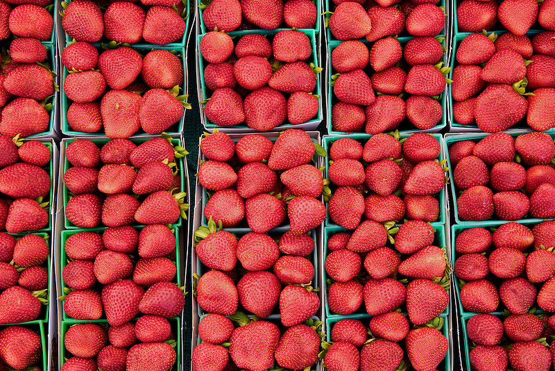Strwberries at a farmers market. Los Angeles, California