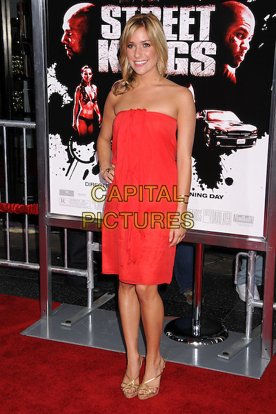 "KRISTIN CAVALLARI.""Street Kings"" Los Angeles Premiere at Grauman's Chinese Theatre, Hollywood, California, USA..April 3rd, 2008.full length strapless red dress hand on hip gold shoes ruffle front  .CAP/ADM/BP.©Byron Purvis/AdMedia/Capital Pictures."