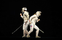 Aug. 9, 2008; Beijing, CHINA; Sada Jacobson (USA), left, and Sofiya Velikaya (RUS) react during the womens fencing individual sabre semi final at the Fencing Hall in the 2008 Beijing Olympic Games. Mandatory Credit: Mark J. Rebilas-