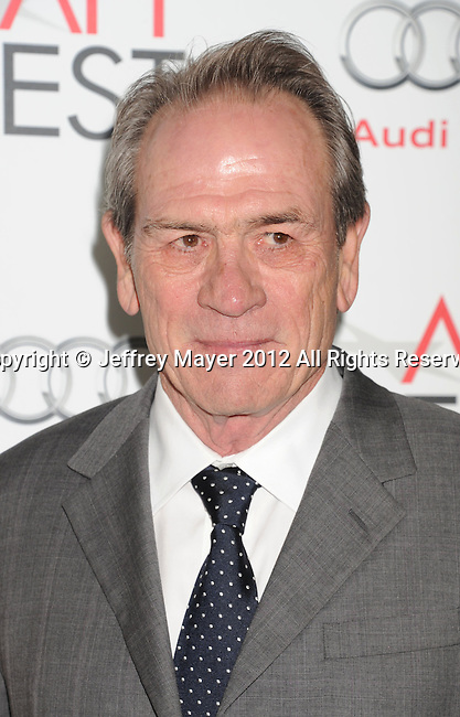 HOLLYWOOD, CA - NOVEMBER 08: Tommy Lee Jones  arrives at the 'Lincoln' premiere during the 2012 AFI FEST at Grauman's Chinese Theatre on November 8, 2012 in Hollywood, California.