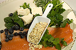 Five most important heart healthy foods, fish, salmon, rainbow trout, blueberries, spinach, oatmeal, soy protein, tofu,