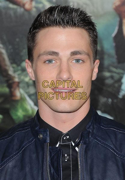 """Colton Haynes.""""Jack The Giant Slayer"""" Los Angeles Premiere held at Grauman's Chinese Theatre, Hollywood, California, USA..February 26th, 2013.headshot portrait black blue leather                     .CAP/RKE/DVS.©DVS/RockinExposures/Capital Pictures."""
