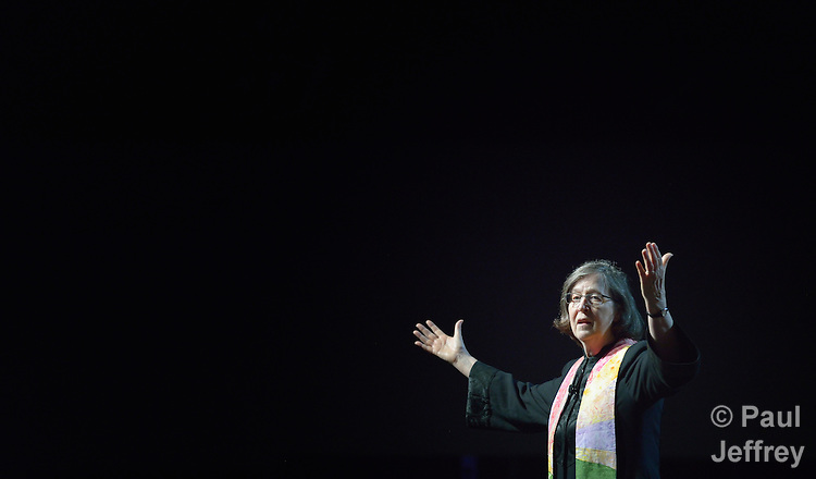 Bishop Elaine J.W. Stanovsky gives the benediction at a May 20 worship service during the 2016 United Methodist General Conference in Portland, Ore. Photo by Paul Jeffrey.