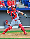 12 March 2012: St. Louis Cardinals catcher Tony Cruz in action during a Spring Training game against the Washington Nationals at Space Coast Stadium in Viera, Florida. The Nationals defeated the Cardinals 8-4 in Grapefruit League play. Mandatory Credit: Ed Wolfstein Photo