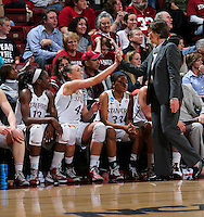 STANFORD, CA - March 26, 2013: Stanford Cardinal's Joslyn Tinkle is congratulated by Tara VanDerveer at the end of a second round game of the 2013 NCAA Division I Championship  versus Michigan at Maples Pavilion in Stanford, California.  The Cardinal defeated the Wolverines 73-40.