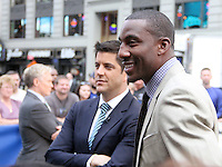 NEW YORK CITY, NY - August 20, 2012: Josh Elliot and NY Knicks' Amar'e Stoudemire at Good Morning America in New York City. © RW/MediaPunch Inc. /NortePhoto.com<br />