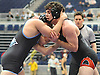 Nick Saporito of Patchogue-Medford, right, battles Dylan Zabbara of Rocky Point at 170 pounds during the Suffolk County Division 1 wrestling quarterfinals at Hofstra University on Friday, Feb. 12, 2016. Saporito won the tightly contested match by decision in overtime.