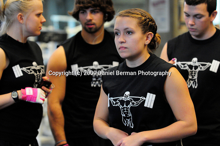 L-R, Stephanie Singer, Jamie Goldberg, Sarah Moorman, and Brett Warick, Members of the Strongman Club at WWU, compete in a weightlifting competition Saturday November 21, 2009 in the Wade King Recreational Center. The competition featured squat, bench press, and deadlifts. Photo by Daniel Berman/www.bermanphotos.com