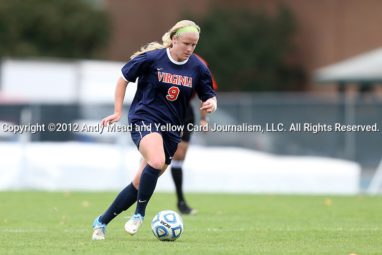 28 October 2012: Virginia's Makenzy Doniak. The University of North Carolina Tar Heels played the University of Virginia Cavaliers at Fetzer Field in Chapel Hill, North Carolina in a 2012 NCAA Division I Women's Soccer game. Virginia defeated UNC 1-0 in their Atlantic Coast Conference quarterfinal match.