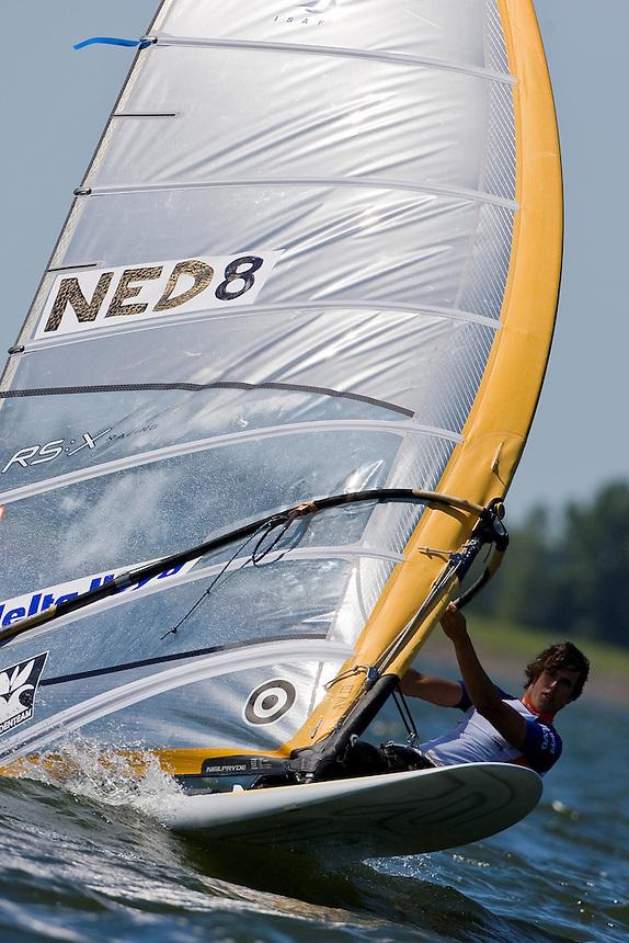 Medemblik - the Netherlands, May 29th 2009. Delta Lloyd Regatta in Medemblik (27/31 May 2009). Day 3. Dorian Rijsselberge (NED 8).