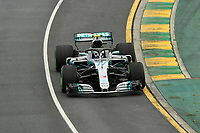 March 24, 2018: Valtteri Bottas (FIN) #77 from the Mercedes AMG Petronas Motorsport team during practice session three at the 2018 Australian Formula One Grand Prix at Albert Park, Melbourne, Australia. Photo Sydney Low