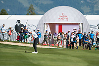 Thomas Pieters (BEL) in action on the 17th hole during final round at the Omega European Masters, Golf Club Crans-sur-Sierre, Crans-Montana, Valais, Switzerland. 01/09/19.<br /> Picture Stefano DiMaria / Golffile.ie<br /> <br /> All photo usage must carry mandatory copyright credit (© Golffile | Stefano DiMaria)
