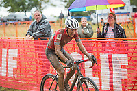 NWA Democrat-Gazette/BEN GOFF @NWABENGOFF<br /> Jared Scott of Boulder Junior Cycling leads in the UCI Junior Men race Sunday, Oct. 6, 2019, during the the Fayettecross cyclocross races at Centennial Park at Millsap Mountain in Fayetteville. Scott was the winner of the race.