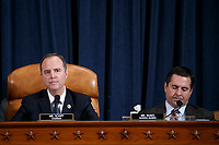 United States Representative Adam Schiff (Democrat of California), Chairman, US House Permanent Select Committee on Intelligence (L), with United States Representative Devin Nunes (Republican of California), Ranking Member, US House Permanent Select Committee on Intelligence (R), questions former US Special Representative for Ukraine Kurt Volker and former Senior Director for Europe and Russia at the National Security Council Tim Morrison during the House Permanent Select Committee on Intelligence public hearing on the impeachment inquiry into US President Donald J. Trump, on Capitol Hill in Washington, DC, USA, 19 November 2019. The impeachment inquiry is being led by three congressional committees and was launched following a whistleblower's complaint that alleges US President Donald J. Trump requested help from the President of Ukraine to investigate a political rival, Joe Biden and his son Hunter Biden.<br /> Credit: Shawn Thew / Pool via CNP/AdMedia
