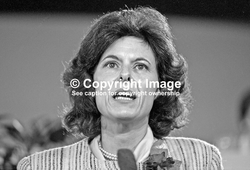 Lady Olga Maitland, Conservative politican, journalist and lady chairman, Families for Defence, which organisation she founded, addresses the Conservative Party's annual conference. 19871044OM2.<br /> <br /> Copyright Image from Victor Patterson, 54 Dorchester Park, <br /> Belfast, UK, BT9 6RJ<br /> <br /> t1: +44 28 9066 1296 (from Rep of Ireland 048 9066 1296)<br /> t2: +44 28 9002 2446 (from Rep of Ireland 048 9002 2446)<br /> m: +44 7802 353836<br /> <br /> e: victorpatterson@me.com<br /> www.victorpatterson.com<br /> <br /> Please see my Terms and Conditions of Use at www.victorpatterson.com. It is IMPORTANT that you familiarise yourself with them.<br /> <br /> Images used on the Internet must be visibly watermarked i.e. &copy; Victor Patterson<br /> within the body of the image and copyright metadata must not be deleted. Images <br /> used on the Internet have a size restriction of 4kbs and will be chargeable at current<br />  NUJ rates unless agreed otherwise.<br /> <br /> This image is only available for the use of the download recipient i.e. television station, newspaper, magazine, book publisher, etc, and must not be passed on to any third <br /> party. It is also downloaded on condition that each and every usage is notified within 7 days to victorpatterson@me.com<br /> <br /> The right of Victor Patterson to be identified as the author is asserted in accordance with The Copyright Designs And Patents Act (1988). All moral rights are asserted.
