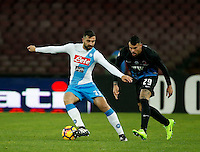 Raul Albiol and Andrea Petagna of Atalanta during the SSC Napoli vs Atalanta, serie A  soccer match at  San Paolo Stadium in Naples , Italy 25 February 2017 Photo: Ciro De Luca ciro de luca<br />   +39 02 43998577 sales@silverhubmedia.it