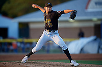 West Virginia Black Bears pitcher Jacob Webb (18) during a NY-Penn League game against the Batavia Muckdogs on June 27, 2019 at Dwyer Stadium in Batavia, New York.  West Virginia defeated Batavia 6-5 in ten innings.  (Mike Janes/Four Seam Images)