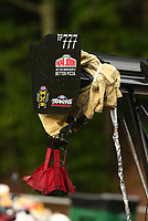 Jun 17, 2017; Bristol, TN, USA; Detailed view of the parachute and pilot chute wrapped around the rear wing on the dragster of NHRA top fuel driver Leah Pritchett during qualifying for the Thunder Valley Nationals at Bristol Dragway. Mandatory Credit: Mark J. Rebilas-USA TODAY Sports