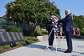 United States President Donald J. Trump lays a wreath at the Pentagon during the 18th anniversary commemoration of the September 11 terrorist attacks, in Arlington, Virginia on Wednesday, September 11, 2019.    <br /> Credit: Kevin Dietsch / Pool via CNP