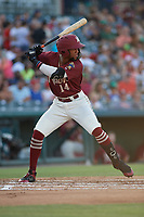 Frisco RoughRiders Leody Taveras (14) bats during a Texas League game against the Amarillo Sod Poodles on July 12, 2019 at Dr Pepper Ballpark in Frisco, Texas.  (Mike Augustin/Four Seam Images)