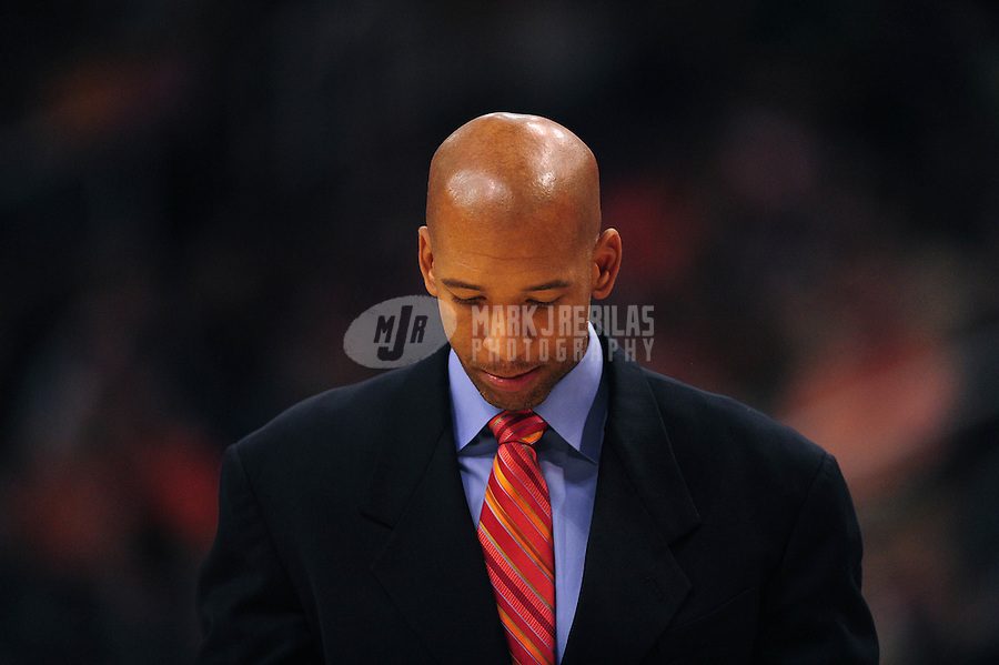 Dec. 26, 2011; Phoenix, AZ, USA; New Orleans Hornets head coach Monty Williams reacts against the Phoenix Suns at the US Airways Center. The Hornets defeated the Suns 85-84. Mandatory Credit: Mark J. Rebilas-USA TODAY Sports