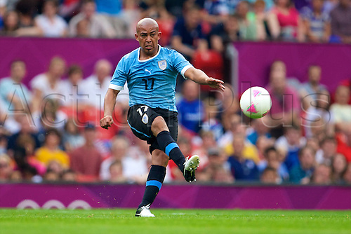 26.07.2012 Manchester, England. Uruguay midfielder Egidio Arévalo Ríos in action during the first round group A mens match between United Arab Emirates and Uruguay at Old Trafford.