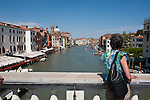 View of the Grand Canal from the Ponte degli Scalzi, (Bridge of the Barefoot Monks) Venice, Italy