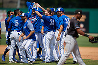 Dunedin Blue Jays Kacy Clemens (21) high fives Norberto Obeso (5) while celebrating with teammates after hitting a game winning single to score Ryan Noda (not shown) during a Florida State League game against the Jupiter Hammerheads on May 16, 2019 at Jack Russell Memorial Stadium in Clearwater, Florida.  Dunedin defeated Jupiter 1-0.  (Mike Janes/Four Seam Images)