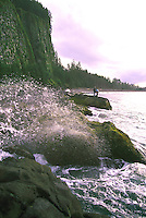 Haida Gwaii (Queen Charlotte Islands), Northern BC, British Columbia, Canada - Waves crashing at Tow Hill and North Beach along McIntyre Bay, Naikoon Provincial Park, Graham Island, Sunset - Agate Beach in Distance