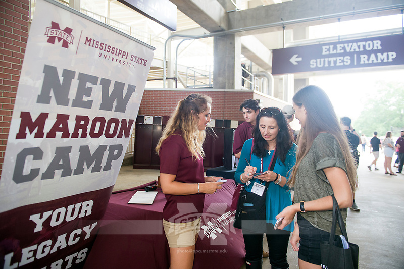 Orientation for incoming students and their parents: Student Activities Fair under Davis Wade Stadium. New Maroon Camp.<br />  (photo by Megan Bean / &copy; Mississippi State University)