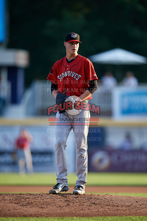 Erie SeaWolves starting pitcher Matt Manning (32) gets ready to deliver a pitch during a game against the Harrisburg Senators on August 29, 2018 at FNB Field in Harrisburg, Pennsylvania.  Harrisburg defeated Erie 5-4.  (Mike Janes/Four Seam Images)