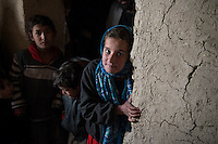 British peace activist Maya Evan visits a refugee camp in Kabul for poor and displaced people. 30-12-12. She had spent much of 2012 raising funds to provide emergency food and firewood for the people of the camp whose suffering increases in the Winter.