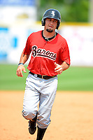 Birmingham Barons third baseman Dan Wagner #5 during a game against the Chattanooga Lookouts on April 17, 2013 at AT&T Field in Chattanooga, Tennessee.  Chattanooga defeated Birmingham 5-4.  (Mike Janes/Four Seam Images)