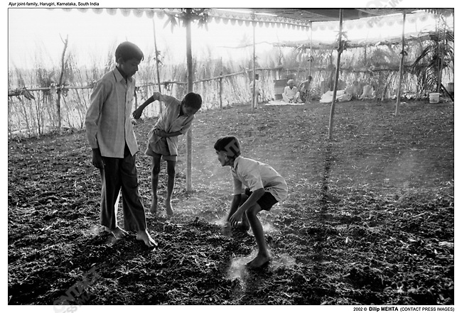 The youngsters in the family play a game of ÔKabaddiÕ a version of ÔTagÕ. The play in a field which has been cleared after harvesting the crop and is readied for the feast celebrating the death anniversary of the parents. An awning is placed over the field for shade and branches are put up on the sides to prevent stray dogs from entering.