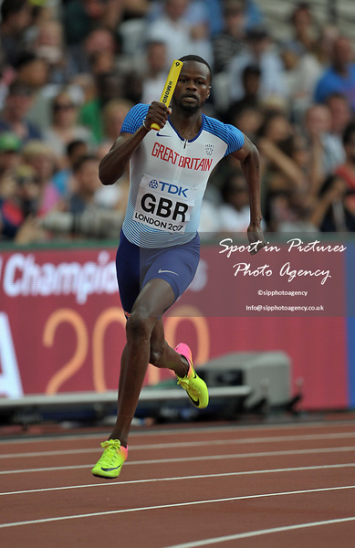 Rabah Yousif (GBR) in the mens 4 x 400m relay. IAAF world athletics championships. London Olympic stadium. Queen Elizabeth Olympic park. Stratford. London. UK. 12/08/2017. ~ MANDATORY CREDIT Garry Bowden/SIPPA - NO UNAUTHORISED USE - +44 7837 394578