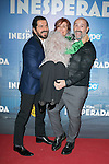 "The director of the movie ""La vida Inesperada Jorge Torregrosa and the actors Javier Cámara and Gloria Munoz  attend the Premiere of the movie ""La vida inesperada"" at the Callao Cinema in Madrid, Spain. April 25, 2014. (ALTERPHOTOS/Carlos Dafonte)"