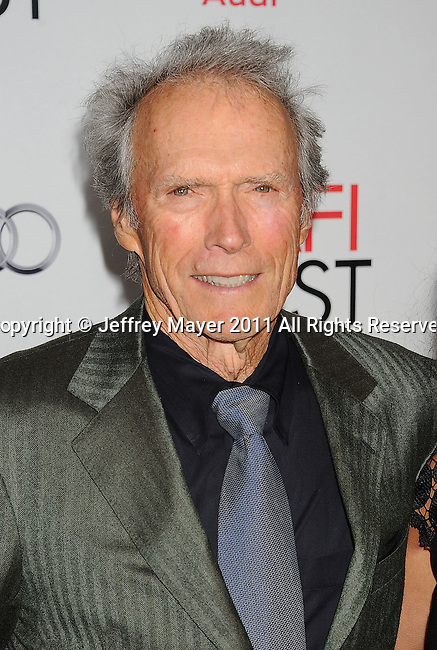 "HOLLYWOOD, CA - NOVEMBER 03: Clint Eastwood attends AFI Fest 2011 Opening Night Gala World Premiere Of ""J. Edgar""at Grauman's Chinese Theatre on November 3, 2011 in Hollywood, California."