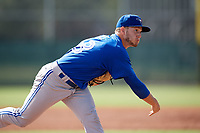 Toronto Blue Jays pitcher Ty Tice (48) follows through on a pitch during an Instructional League game against the Pittsburgh Pirates on October 13, 2017 at Pirate City in Bradenton, Florida.  (Mike Janes/Four Seam Images)