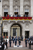 Sophie Wessex, Prince Charles, Prince Andrew, Camilla Duchess of Cornwall, Queen Elizabeth II, Meghan Duchess of Sussex, Prince Harry, Prince William, Catherine Duchess of Cambridge and Princess Anne on the balcony of Buckingham Palace<br /> RAF centenary fly-past at Buckingham Palace, The Mall, London England on July 10, 2018.<br /> CAP/PL<br /> &copy;Phil Loftus/Capital Pictures