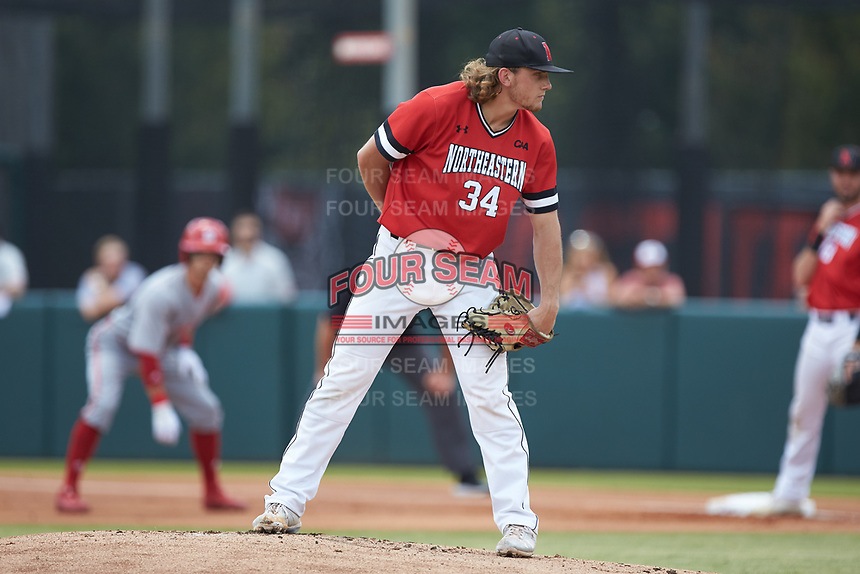 Northeastern Huskies starting pitcher David Stiehl (34) looks to his catcher for the sign against the North Carolina State Wolfpack at Doak Field at Dail Park on June 2, 2018 in Raleigh, North Carolina. The Wolfpack defeated the Huskies 9-2. (Brian Westerholt/Four Seam Images)