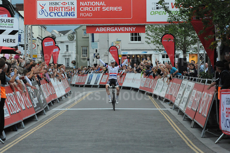 The 2017 Abergavenny Festival of Cycling on Friday 7th July 2017 - <br /> <br /> The race winner Christopher Lawless of the Axeon Hagens Berman CT racing team crosses the finishing line way ahead of the other competitors.<br /> <br /> <br /> Jeff Thomas Photography<br /> www.jaypics.photoshelter.com<br /> e-mail swansea1001@hotmail.co.uk<br /> Mob: 07837 386244